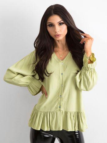 Zielona luźna bluzka z falbaną
