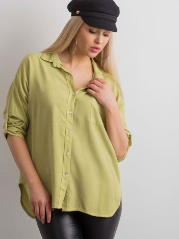 Zielona luźna koszula damska