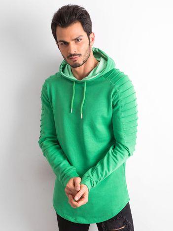 Zielona męska bawełniana bluza z kapturem