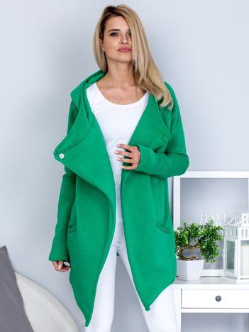 Zielona ocieplana bluza z kapturem