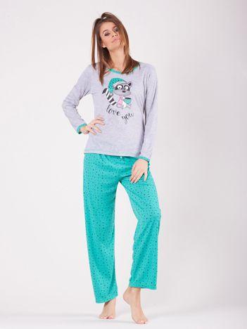 Zielona piżama z nadrukiem