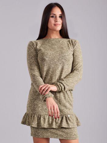 Zielona sukienka damska z falbaną
