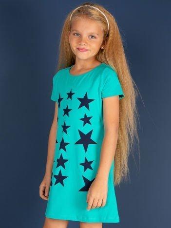 Zielona sukienka dla dziewczynki z gwiazdkami