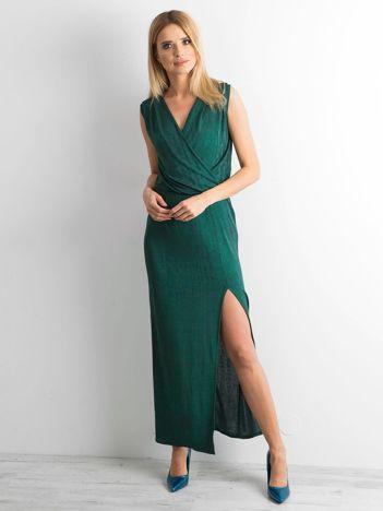 Zielona sukienka maxi z rozcięciem