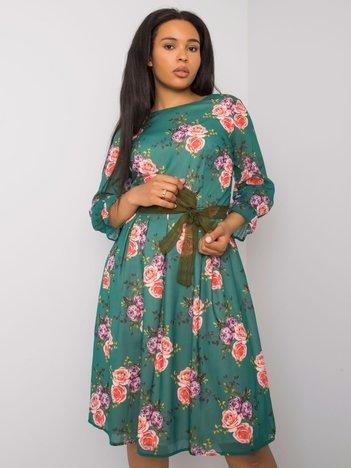 Zielona sukienka plus size w kwiaty Bianna