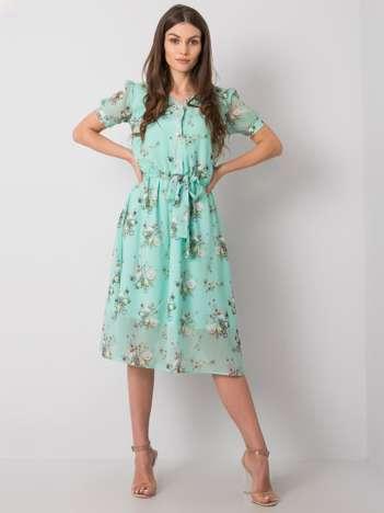 Zielona sukienka w kwiaty Piacenza