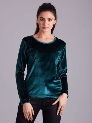 Zielona welurowa bluza damska