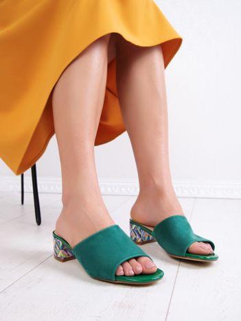Zielone klapki SERGIO LEONE z kolorowymi obcasami