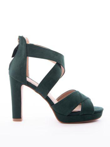 Zielone sandały SABATINA na wysokim słupki i zapięciem na krzyż