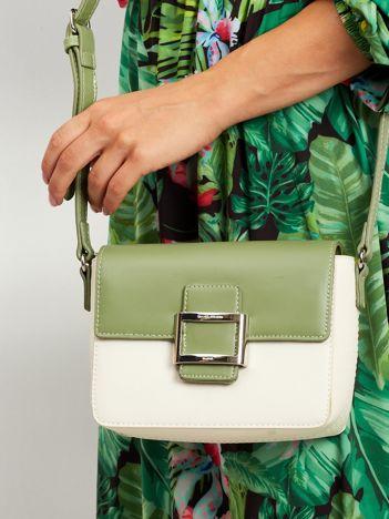 Zielono-beżowa torebka z ekoskóry