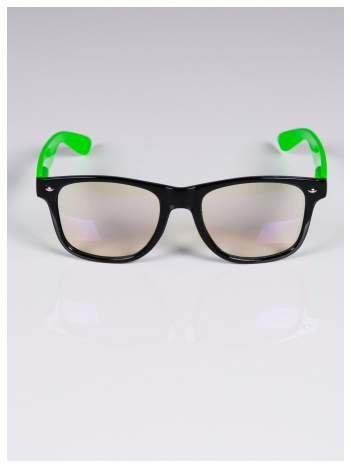 Zielono-czarne okulary zerówki kujonki typu WAYFARER NERDY