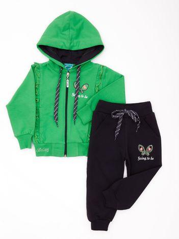 Zielono-szary komplet dla dziewczynki z dżetami