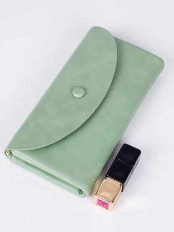 Zielony DUŻY Elegancki Poczwórny Portfel Damski ETUI NA TELEFON