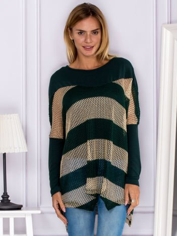 Zielony ażurowy warstwowy sweter