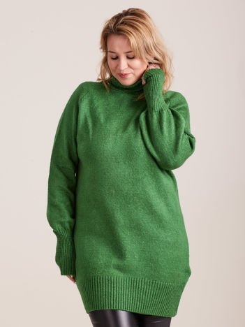 Zielony długi sweter z golfem PLUS SIZE