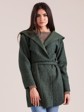Zielony dzianinowy płaszcz z kapturem