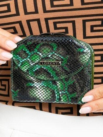 Zielony skórzany portfel damski z klapką