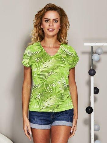 Zielony t-shirt exotic print
