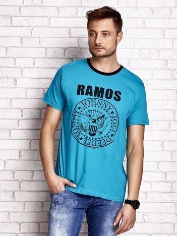 Zielony t-shirt męski z napisem RAMOS i nadrukiem