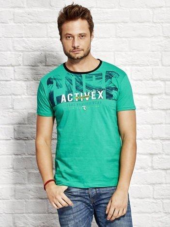 Zielony t-shirt męski z printem