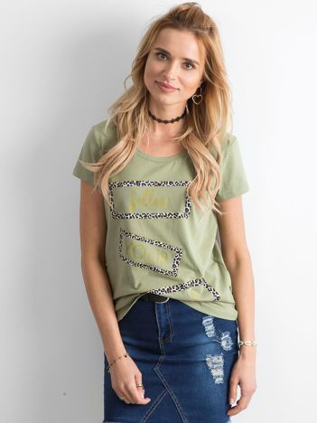 Zielony t-shirt z nadrukiem