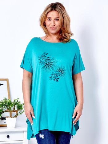 Zielony t-shirt  z roślinnym printem PLUS SIZE