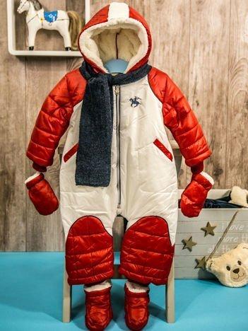 Zimowy kombinezon dla dziecka z bucikami i rękawiczkami czerwony