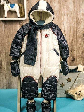 Zimowy kombinezon dla dziecka z bucikami i rękawiczkami ecru