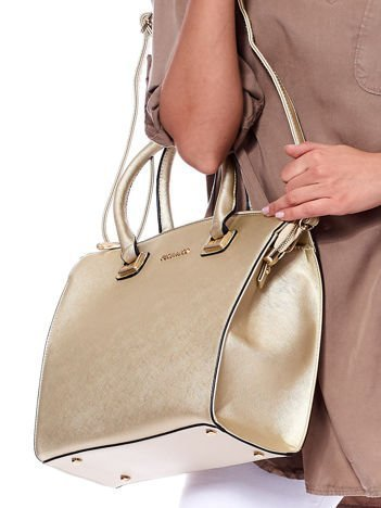 Złota elegancka torebka do ręki z odpinanym paskiem
