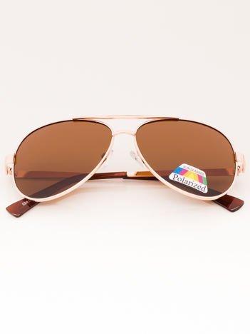 Złote Okulary przeciwsłoneczne PILOTKI Aviatory POLARYZACYJNE
