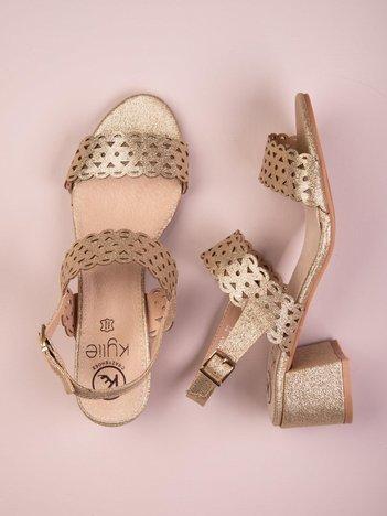 Złote błyszczące sandały na szerokim obcasie Kylie