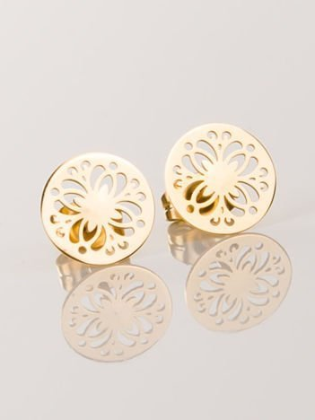 Złote kolczyki damskie -AŻUROWE KOŁA wykonane z najwyższej jakości STALI CHIRURGICZNEJ 316L