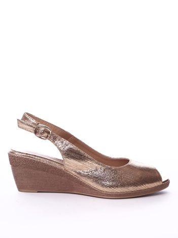 Złote sandały SERGIO LEONE z metalicznym połyskiem