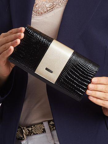 Złoto-czarny portfel skórzany