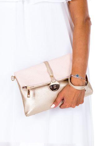 Złoto-różowa miękka torebka z odpinanym paskiem