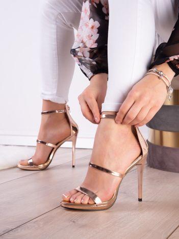 Złoto-różowe sandały na szpilkach z suwakiem na tyle cholewk