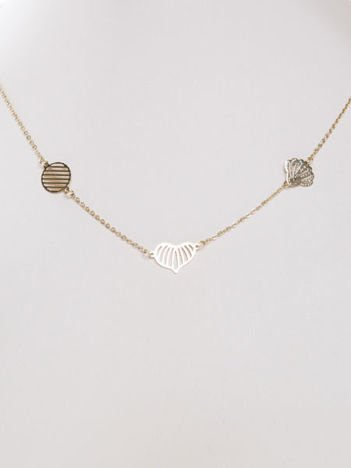 Złoty naszyjnik gwiazd potrójna CELEBRYTKA STAL CHIRURGICZNA ażurowe serce,muszelka,koło