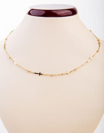 Złoty naszyjnik z krzyżami z najlepszej jakości STALI CHIRURGICZNEJ 316L
