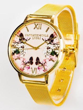 Złoty zegarek damski KWIATY MOTYLE z bransoletą typu MESH