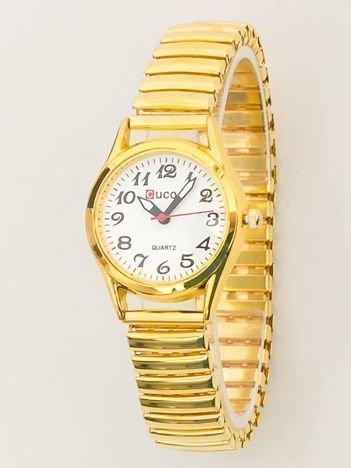 Złoty zegarek damski na bransolecie z białą tarczą