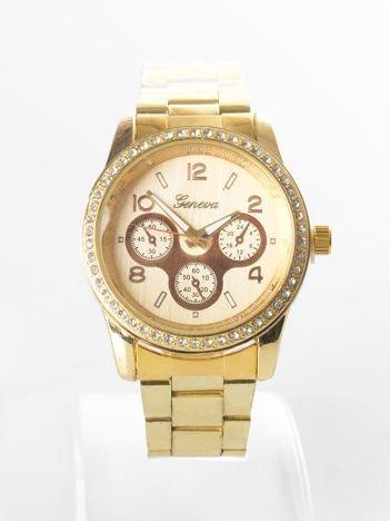 Złoty zegarek damski z cyrkoniami