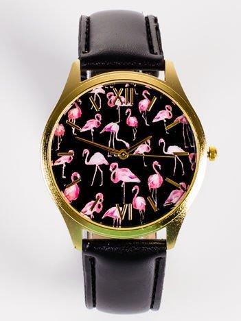 Złoty zegarek damski z tarcza z FLAMINGAMI