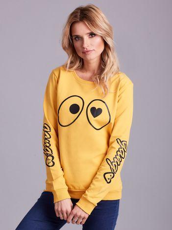 Żółta bawełniana bluza z nadrukiem