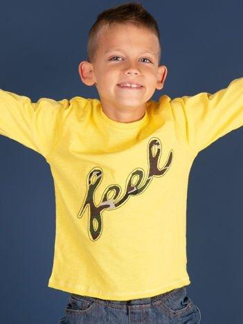Żółta bawełniana bluzka dziecięca z moro aplikacją