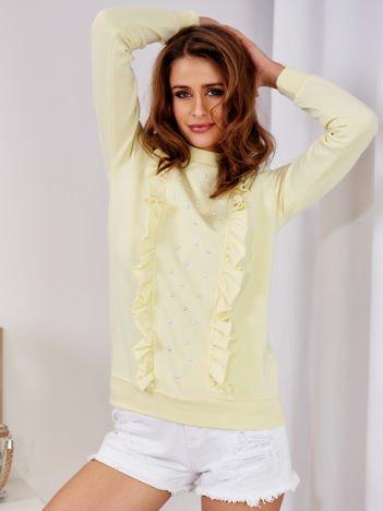 Żółta bluza z kolorowymi perełkami i falbankami