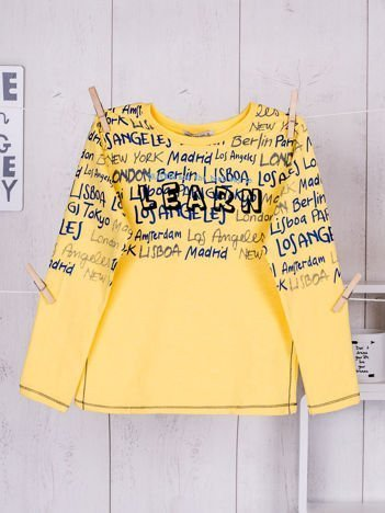 Żółta bluzka dziecięca z tekstowym nadrukiem