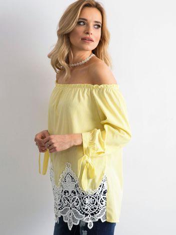 Żółta bluzka hiszpanka w paski