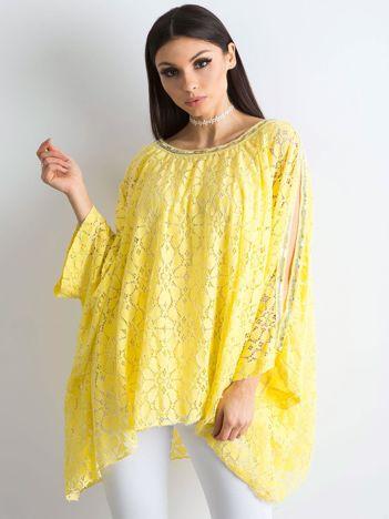 Żółta bluzka ponczo