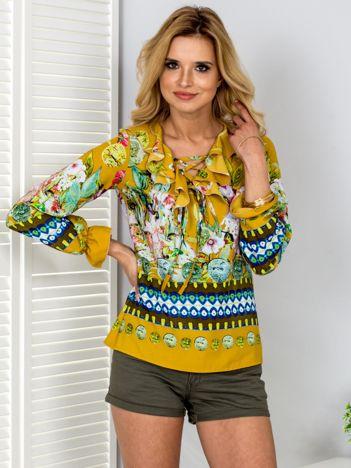 Żółta bluzka w kolorowe etniczne wzory