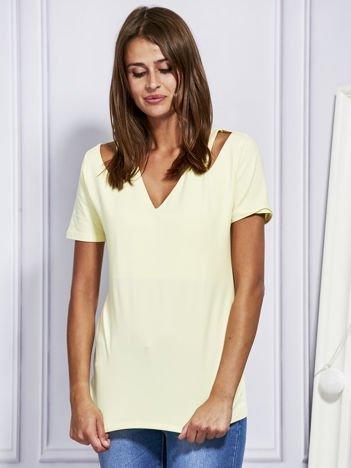 Żółta bluzka z wycięciami na rękawach